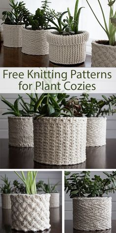 Best 11 Free Knitting Patterns for Plant Cozies – 5 different patterns for covers for plant containers. The patterns include: Lattice Cable, Jute, Herringbone, Garter Stitch, Stockinette. Designed by Brome Fields. The designs use from 60 – 140 yards – Knitting Stitches, Knitting Patterns Free, Free Knitting, Free Pattern, Knitting Ideas, Easy Knitting Projects, Knit Patterns, Baby Knitting, Stitch Patterns