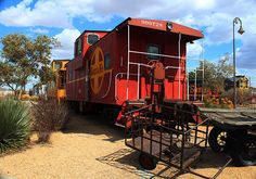 A caboose on display at the #Barstow #HarveyHouse in #California. #FilmBarstow www.FilmBarstow.com