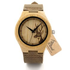 2016 Deer Head Design Mens Women's Size Bamboo Wooden Watches Luxury Wooden Quartz Watches With Brown Leather Strap Like if you are Excited!  #shop #beauty #Woman's fashion #Products #Watch