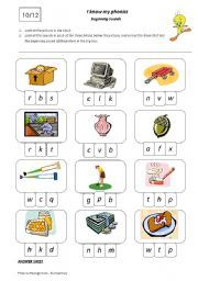 English teaching worksheets: Beginning sounds
