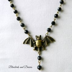 Bat Necklace with Black Glass Beads - The Supermums Craft Fair