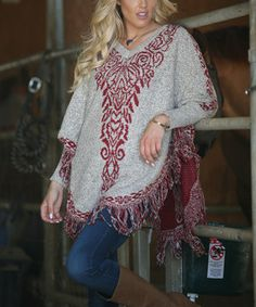 Love this Ananda's Collection Beige & Wine Floral Fringe Hem Poncho by Ananda's Collection on #zulily! #zulilyfinds