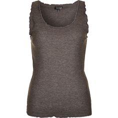 TOPSHOP Scallop Edge Pyjama Vest ($20) ❤ liked on Polyvore