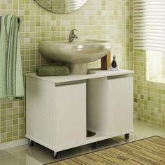 Conjunto para Banheiro com Armários para Pia e Caixa Acoplada Branco - Caaza | Lojas KD