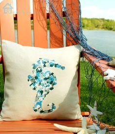 Seahorse thumbprint design on envelope pillow