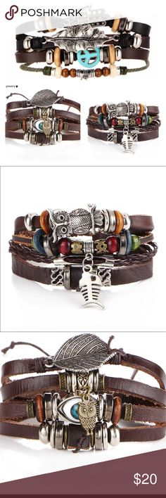 Hamsa Owl Peace  Boho Leather 4 Strand Bracelet Leather bracelets with charms. 4 strands in each one bracelet. Combine with 3 additional items from my closet for 30% Off! Jewelry Bracelets
