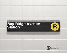 Bay Ridge Avenue Station, Yellow Line - New York City Subway Sign - Hand Painted on Wood