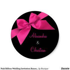 Pink Ribbon Wedding Invitation Announcement RSVP Classic Round Sticker #brideandgroom #ribbonsticker #pinkribbon #pinkwedding