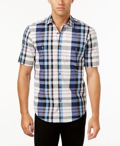 Alfani Men's Classic Fit Plaid Shirt, Only at Macy's