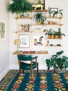 3 Inspiring Home Office Decor for Creative People # Decoration Desk Wall Unit, Shelf Desk, Wall Shelves, Hanging Shelves, Floating Shelves, Wall Units, Plant Shelves, Corner Shelves, Green Shelves