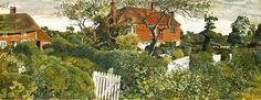 Stanley Spencer, (English painter, 1891 – 1959) Cottages at Burghclere