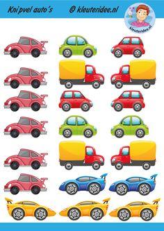 Knipvel auto's, kleuteridee, kindergarten car printable. Baby Crafts, Crafts For Kids, Preschool Activities, Transportation, Kindergarten, Garage, Education, Learning, Cars
