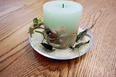 Basteln mit Muscheln: Kerze