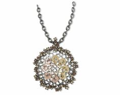 925/000 Sterling Silver Pendant Pink & Yellow 18k. Gold and CZ Brown & Champagne + chain. Price : $931.70 #bohemmejewelry
