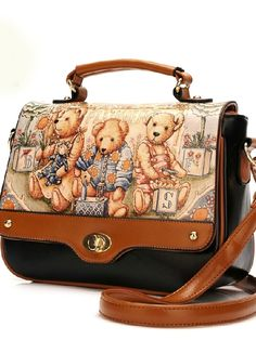 Sweet Style Flap Patchwork Character Print Shoulder Bags For Women