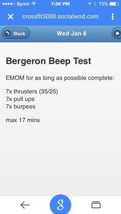 Bergeron beep test Crossfit EMOM