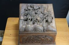 Large & Fine Hand Carved Anglo Indian Wood Box Carved Indian wooden box. | eBay