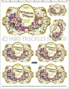 Item Shabby Victorian Style Perfume Label Decals by Vintage Tags, Vintage Labels, Vintage Prints, Soap Labels, Miniature Bottles, Decoupage Vintage, Printing Labels, Vintage Perfume, Paper Cards