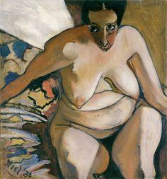 Alice Neel (1900-1984) was een Amerikaanse kunstenares die zich voornamelijk toelegde op portretschilderen. Haar interesse voor sociaal realisme en de 'onpopulaire' kunst van het portretschilderen maakte dat haar werk los stond van de artistieke ontwikkelingen van de avant-garde. Terwijl haar meest productieve jaren hoofdzakelijk gekenmerkt werden door een gebrek aan succes, bevestigde een overzichtstentoonstelling in 1974 de grote, zij het late, erkenning die haar te beurt viel.-1930