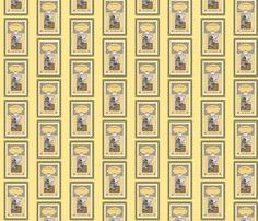 Jane Austen bookplates Yellow fabric by karenharveycox on Spoonflower - custom fabric