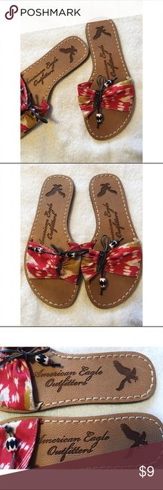 American Eagle Sandals This pair of American Eagle Outfitters Sandals are a size 6 they are in excellent condition worn once. They tie shut at the top of the roe area.  Super adorable American Eagle Outfitters Shoes Sandals