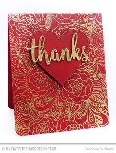 Floral Fantasy Background, Flop Card - Heart Die-namics, Thanks & Hello Die-namics - Francine Vuillème  #mftstamps