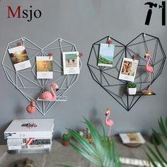 Msjo INS Hot Iron Art Szív alakú tároló állványok fotó szalagokhoz DIY otthoni dekoráció Mesh keret tárolótartók Rackek Magazine Rack, Storage, Home Decor, Heart Shapes, Purse Storage, Iron, Houses, Pictures, Art