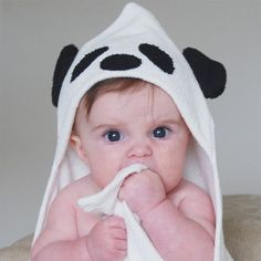 """Bamboo Panda Hooded Towel Organic bamboo is spun into plush and triple absorbent terry cloth and fashioned in this novelty hooded towel. More about our Bamboo Panda Hooded Towel - 30"""" square with gene"""