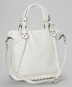 Take a look at the Punto Uno White Whipstitch Tote on #zulily today!