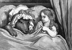 Little Red Riding Hood in Les Contes de Perrault illustrated by Gustave Dore (J Hetzel & Co, Paris, We have written about Dore - ask… Gustave Dore, Famous Fairies, Charles Perrault, Big Bad Wolf, Illustrations, Christen, Red Riding Hood, Little Red, The Little Mermaid