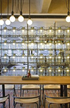 Collab between Helen Hughes and lighting designers PSLAB for the Barbican Foodhall and Lounge in London (via pinterest.com/...)