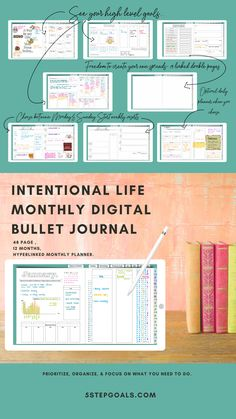 monthly bullet journal for intentional living Planner Book, Monthly Planner, Weekly Goals, Letter To Yourself, Bullet Journal Layout, Planner Organization, What You Can Do, Big Picture, Peace Of Mind