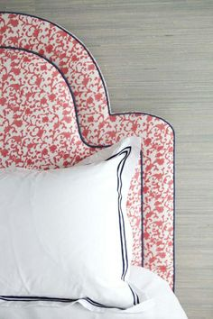 patterned headboard with white bedding // sara gilbain