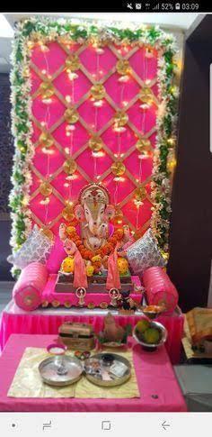 Ganpati Decoration Theme, Eco Friendly Ganpati Decoration, Mandir Decoration, Ganapati Decoration, Gauri Decoration, Board Decoration, Diwali Decorations At Home, Backdrop Decorations, Festival Decorations
