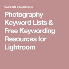 Photography Keyword Lists & Free Keywording Resources for Lightroom