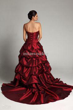 Custom Red Wedding Dress Prom Costume Evening Gown | Fashion ...