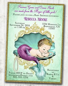 Vintage Mermaid Baby Shower Invitation Little Mermaid Baby Shower Under The Sea Aqua purple gold - FREE SHIPPING or DIY Printable by jjMcBean on Etsy