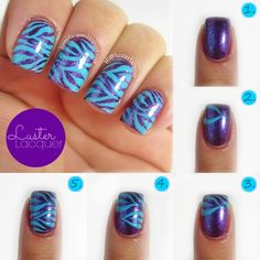 Purple, blue zebra nails, Nailed It NZ: Nail art for short nails tutorial Peacock nails Fancy Nails, Love Nails, Diy Nails, Pretty Nails, Zebra Nail Art, Zebra Print Nails, Nails Decoradas, Peacock Nails, Uñas Diy
