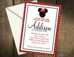 Minnie Mouse Printable Birthday Invitation by MyPerfectPartyStudio, $5.00
