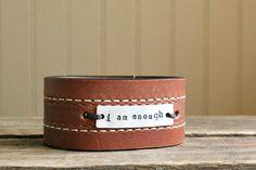 brown leather cuff with stitching ... I AM by cynthiagarrettShop