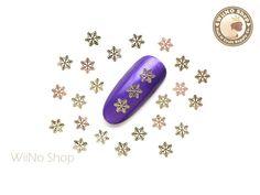 Gold Stellar Snowflake Ultra Thin Metal Decoration Nail Art - 25 pcs