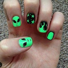 You're just as sane as I am • #alien #nails #nailpolish