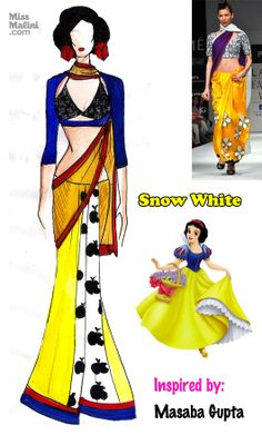 The cutest MASABA Saree ever! Snow White inspired by Masaba