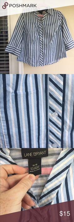 c5a3d3ce50a Blue   white striped button down A003. Lane BryantBlue ...