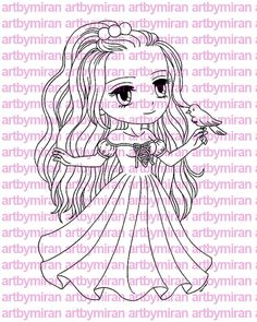 Digital Stamp - Lovely Irene, Digi Stamp, Coloring page, Printable Line art for Card and Craft Supply