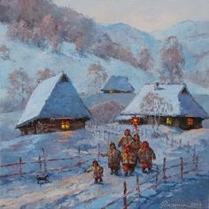 Ukraine Kalada wheel Star - Artwork by Ihor Ropianyk (With images) Russian Painting, Russian Art, Farm Paintings, Landscape Paintings, Ukrainian Christmas, Exotic Art, Acrylic Painting Lessons, Ukrainian Art, Winter Painting