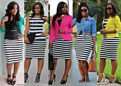 5 Ways to Wear a Striped Skirt- tried all 5