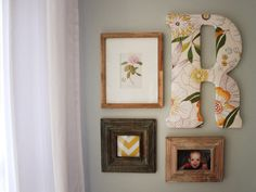 Add character with mismatched frames and a fabric covered initial.