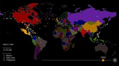 Two Centuries of US Immigration Visualized Watch 200 years of U. immigration history in one animated map. Migration flows are visualized as colored dots, each one representing people. World History, Family History, First Animation, Thing 1, Interactive Map, World Cities, Cartography, Data Visualization, Social Studies