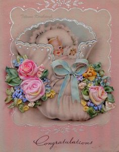 picture Baby vintage shabby chick card by SilkRibbonembroidery